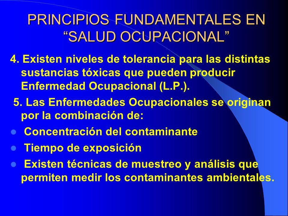 PRINCIPIOS FUNDAMENTALES EN SALUD OCUPACIONAL