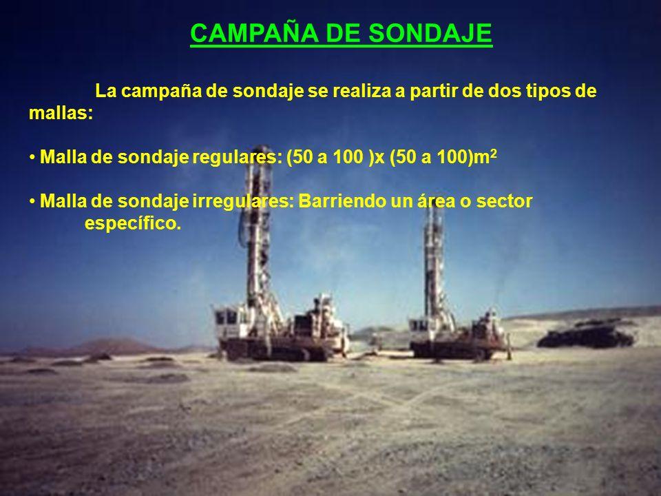 CAMPAÑA DE SONDAJE La campaña de sondaje se realiza a partir de dos tipos de mallas: Malla de sondaje regulares: (50 a 100 )x (50 a 100)m2.