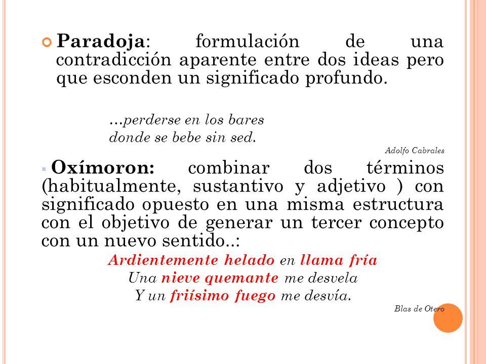 Paradoja: formulación de una contradicción aparente entre dos ideas pero que esconden un significado profundo.