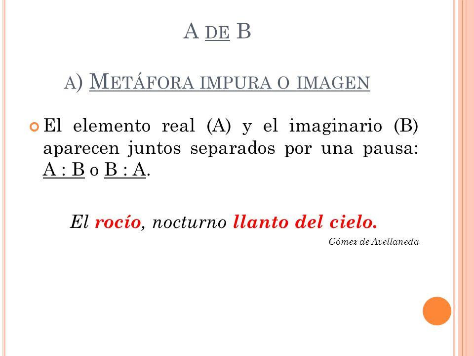 A de B a) Metáfora impura o imagen