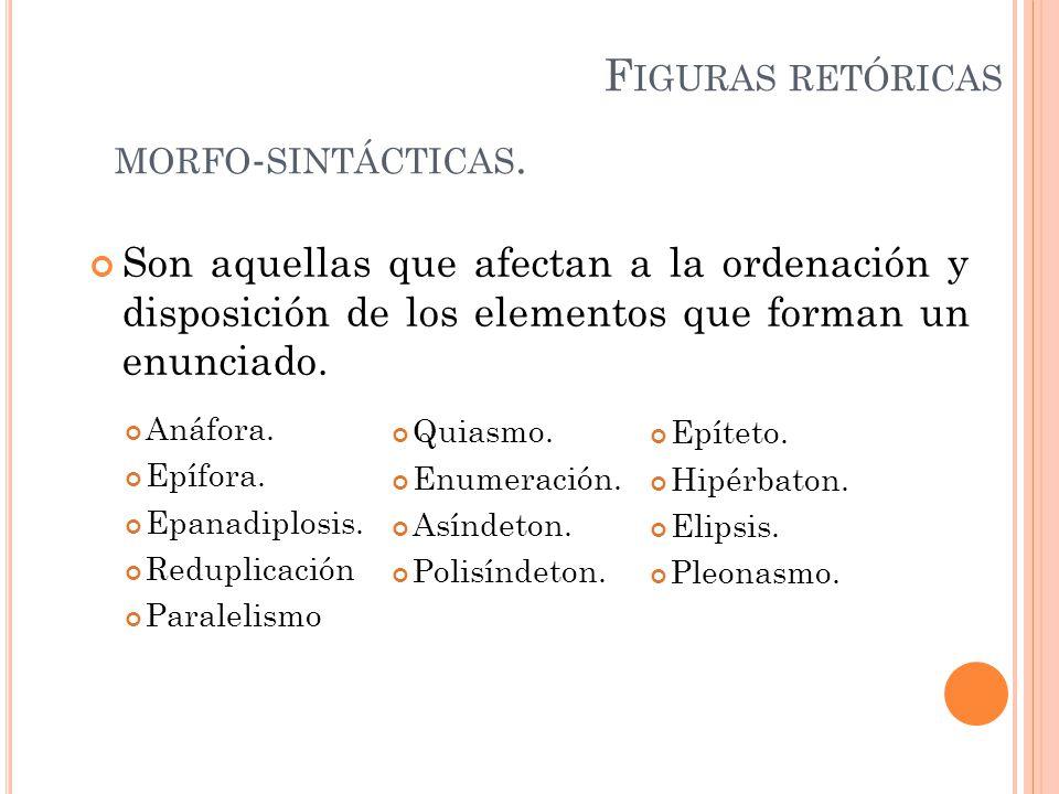 Figuras retóricas morfo-sintácticas.