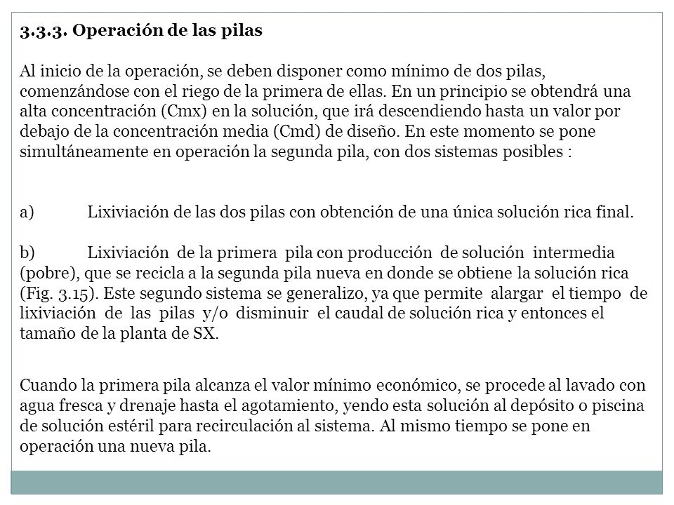 3.3.3. Operación de las pilas