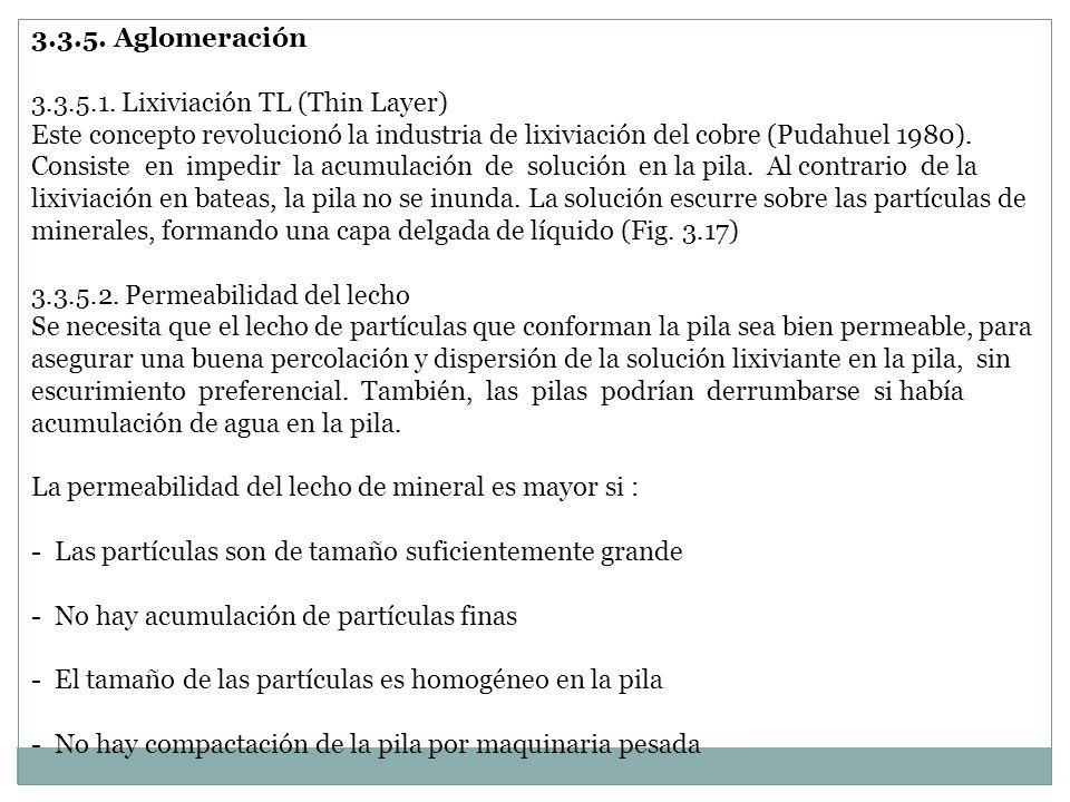 3.3.5. Aglomeración 3.3.5.1. Lixiviación TL (Thin Layer)