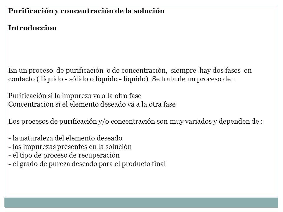 Purificación y concentración de la solución