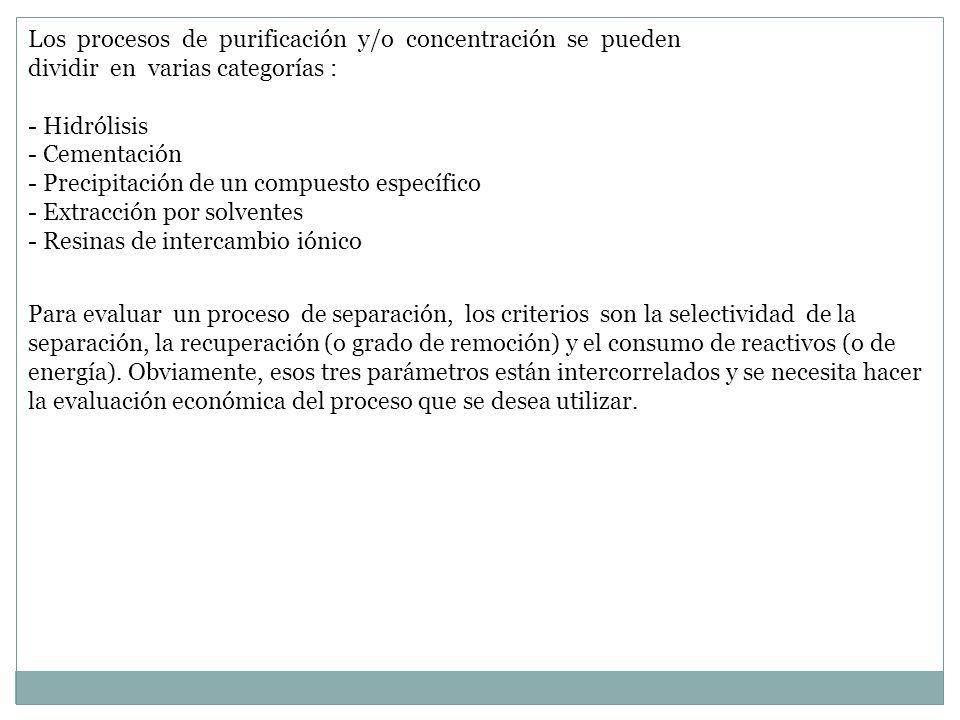 Los procesos de purificación y/o concentración se pueden dividir en varias categorías :