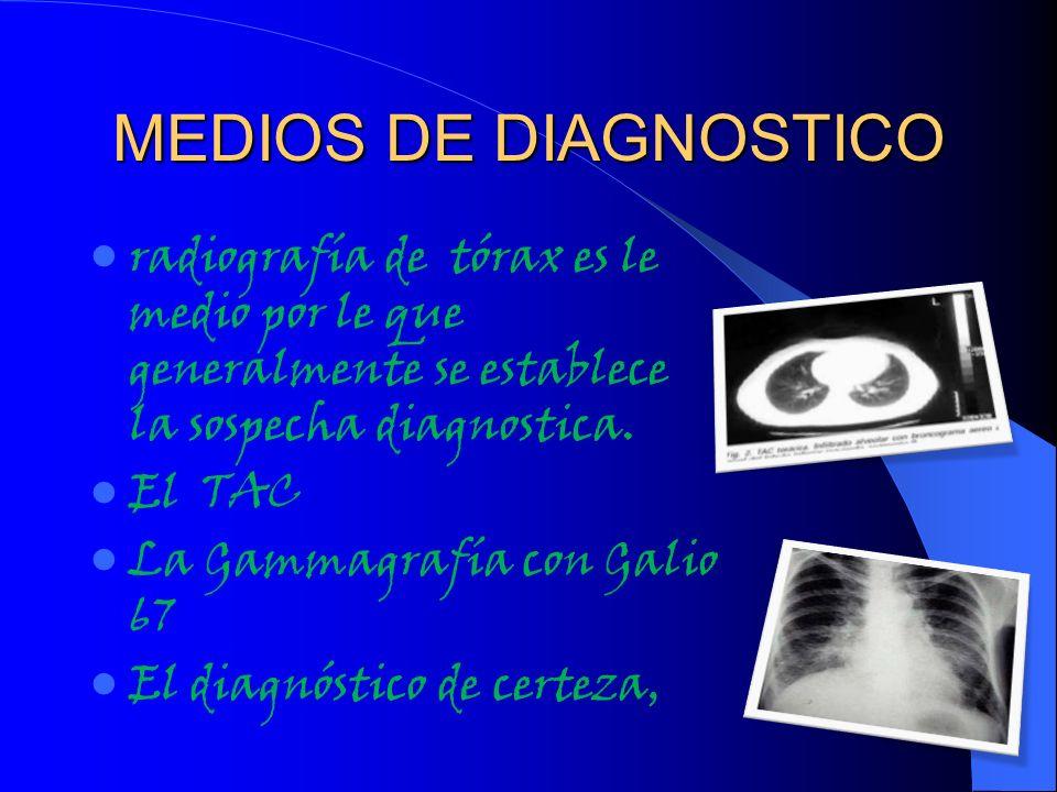 MEDIOS DE DIAGNOSTICOradiografía de tórax es le medio por le que generalmente se establece la sospecha diagnostica.