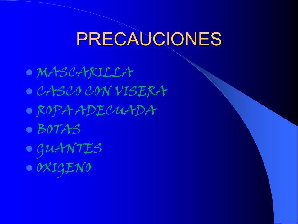 PRECAUCIONES MASCARILLA CASCO CON VISERA ROPA ADECUADA BOTAS GUANTES