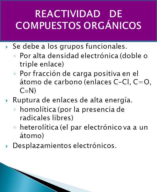 REACTIVIDAD DE COMPUESTOS ORGÁNICOS
