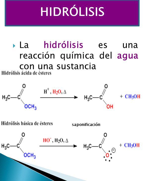 HIDRÓLISIS La hidrólisis es una reacción química del agua con una sustancia saponificación
