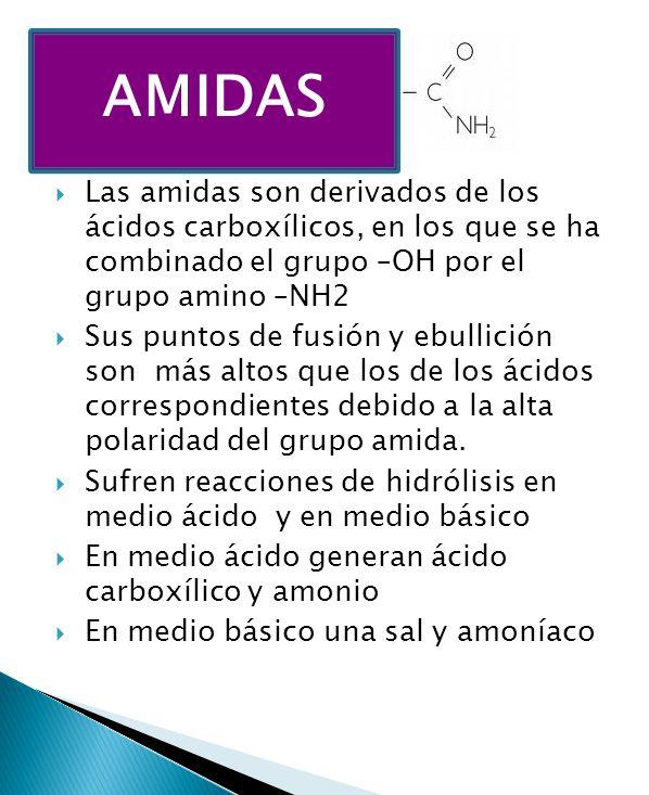 AMIDAS Las amidas son derivados de los ácidos carboxílicos, en los que se ha combinado el grupo –OH por el grupo amino –NH2.