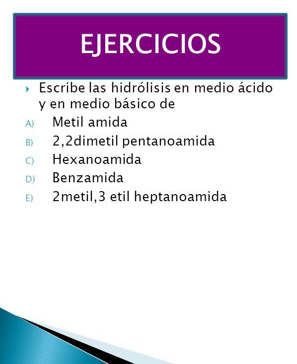 EJERCICIOS Escribe las hidrólisis en medio ácido y en medio básico de