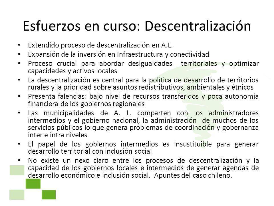 Esfuerzos en curso: Descentralización