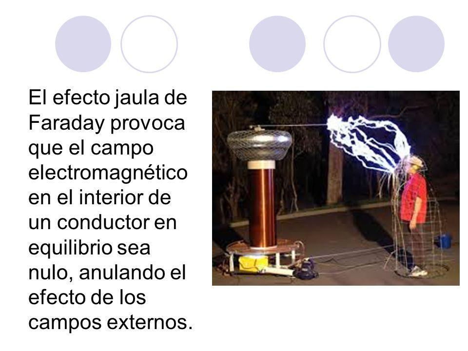 El efecto jaula de Faraday provoca que el campo electromagnético en el interior de un conductor en equilibrio sea nulo, anulando el efecto de los campos externos.