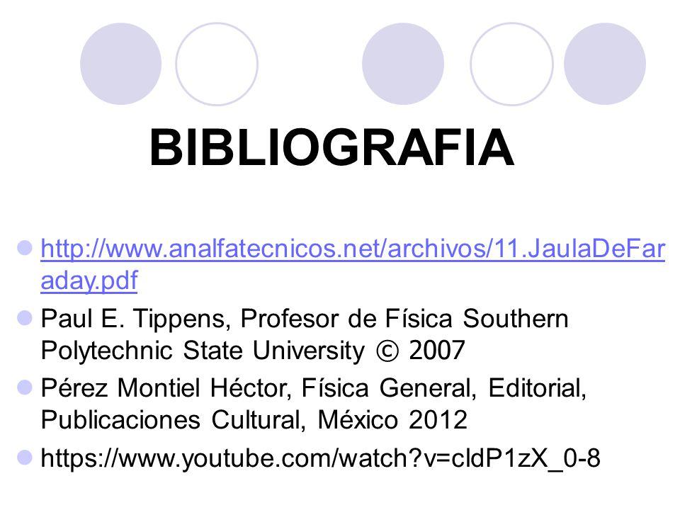 BIBLIOGRAFIA http://www.analfatecnicos.net/archivos/11.JaulaDeFaraday.pdf.