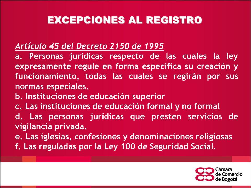 EXCEPCIONES AL REGISTRO