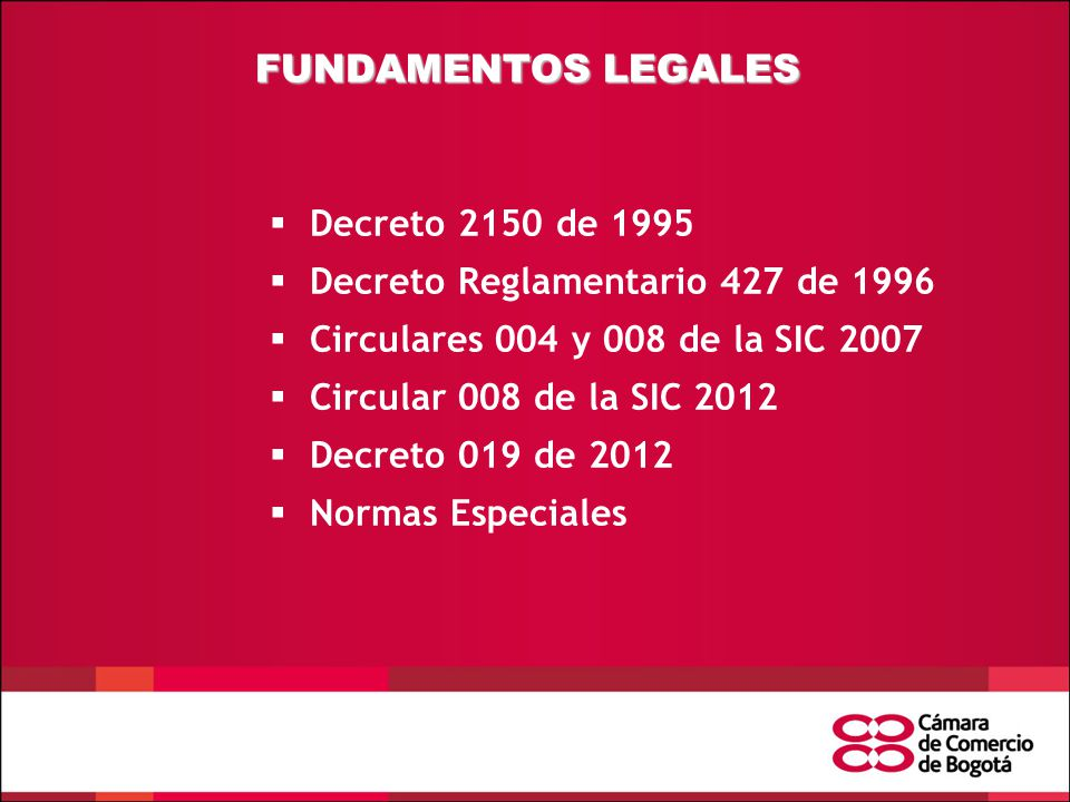 FUNDAMENTOS LEGALES Decreto 2150 de 1995