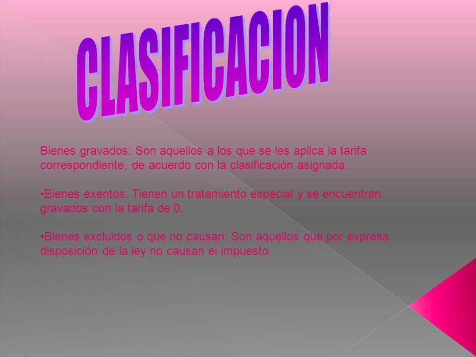 CLASIFICACION Bienes gravados: Son aquellos a los que se les aplica la tarifa correspondiente, de acuerdo con la clasificación asignada.