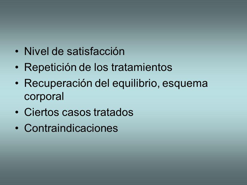 Nivel de satisfacción Repetición de los tratamientos. Recuperación del equilibrio, esquema corporal.