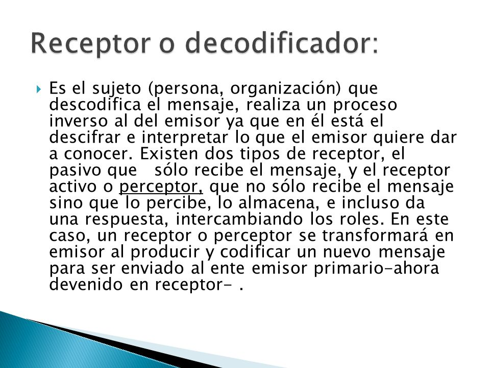 Receptor o decodificador: