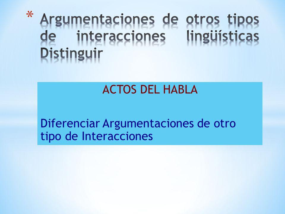 Argumentaciones de otros tipos de interacciones lingüísticas Distinguir