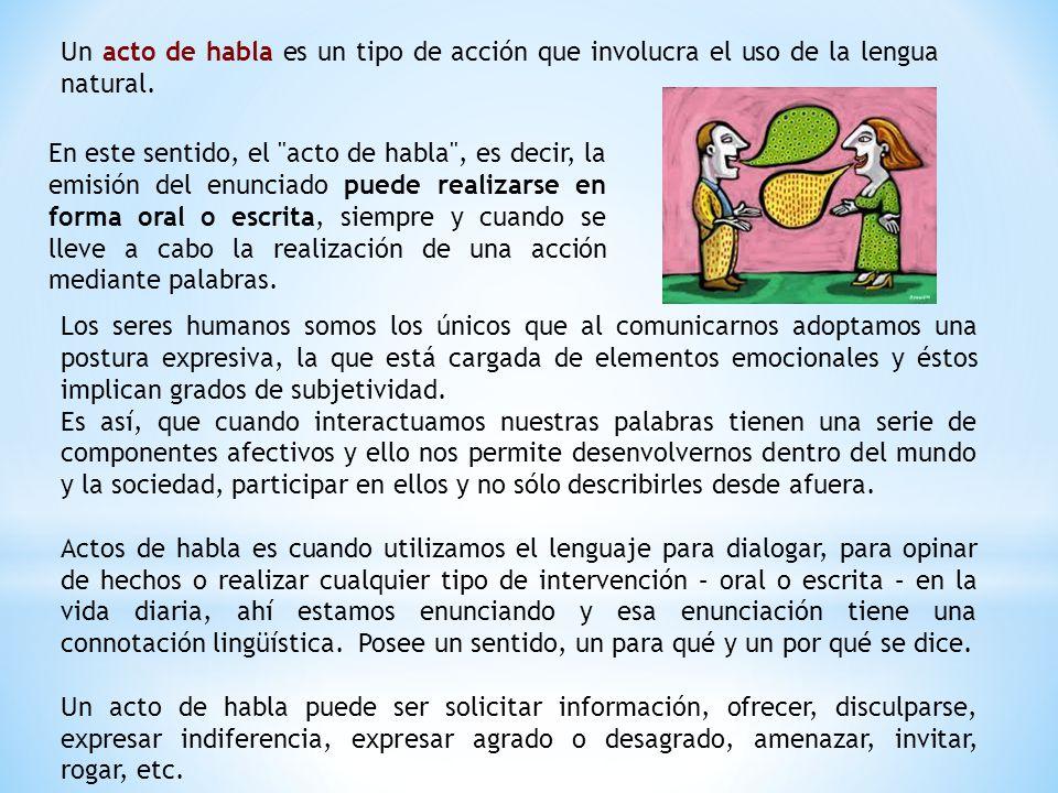 Un acto de habla es un tipo de acción que involucra el uso de la lengua natural.