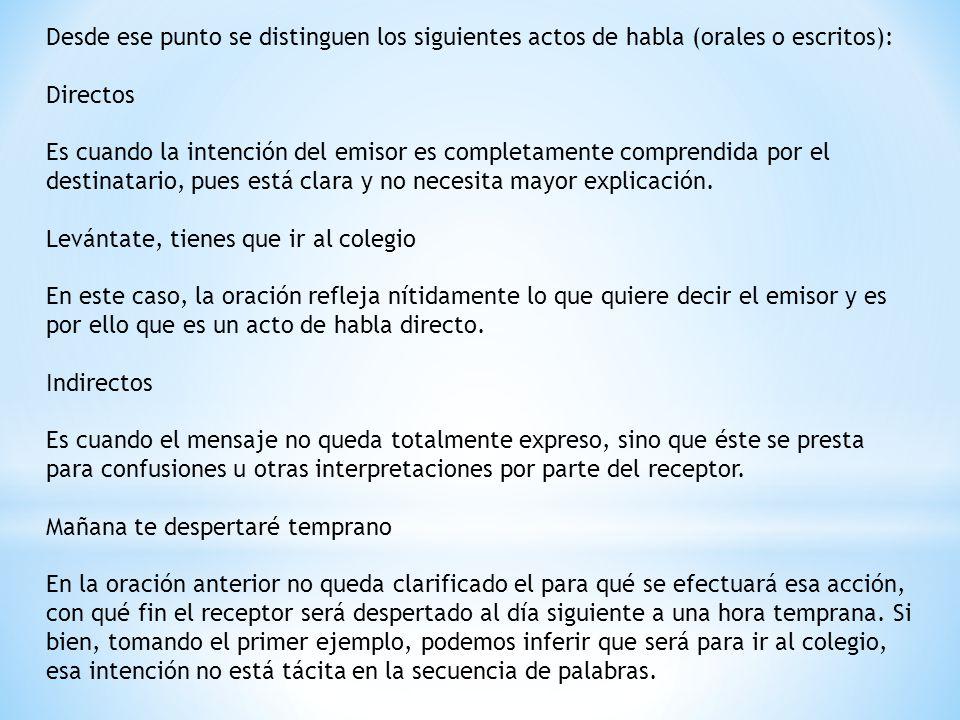 Desde ese punto se distinguen los siguientes actos de habla (orales o escritos):
