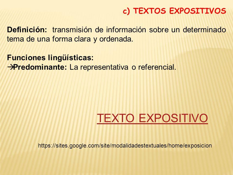 TEXTO EXPOSITIVO c) TEXTOS EXPOSITIVOS