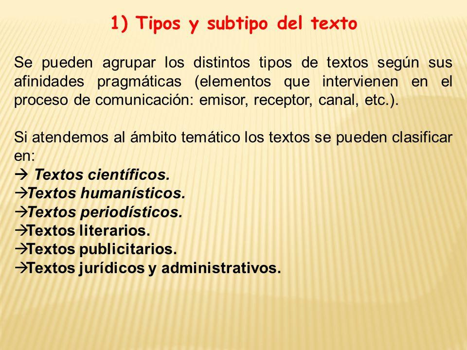 1) Tipos y subtipo del texto