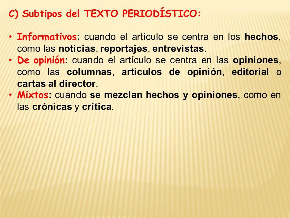 C) Subtipos del TEXTO PERIODÍSTICO:
