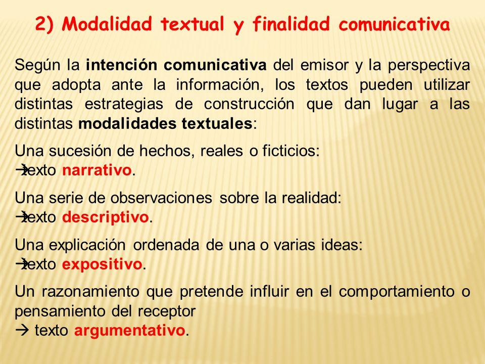 2) Modalidad textual y finalidad comunicativa
