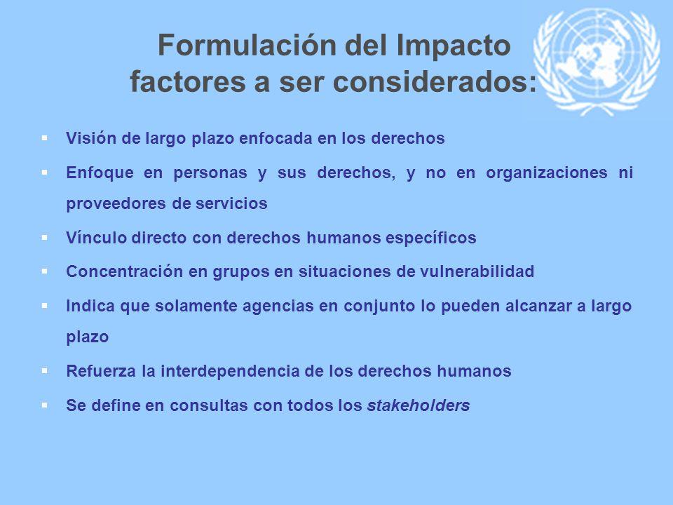 Formulación del Impacto factores a ser considerados: