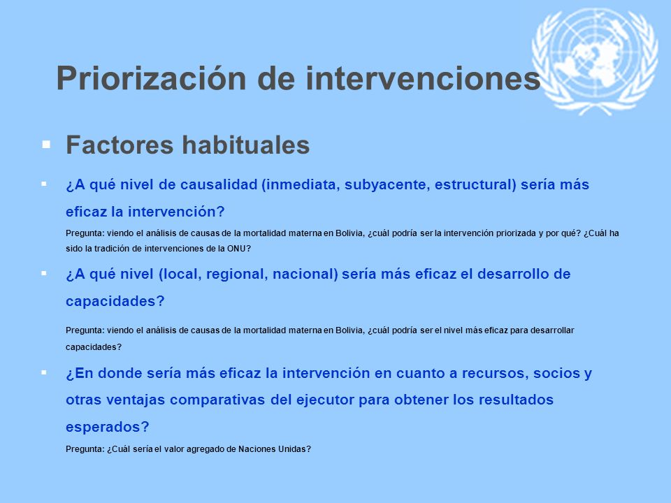 Priorización de intervenciones