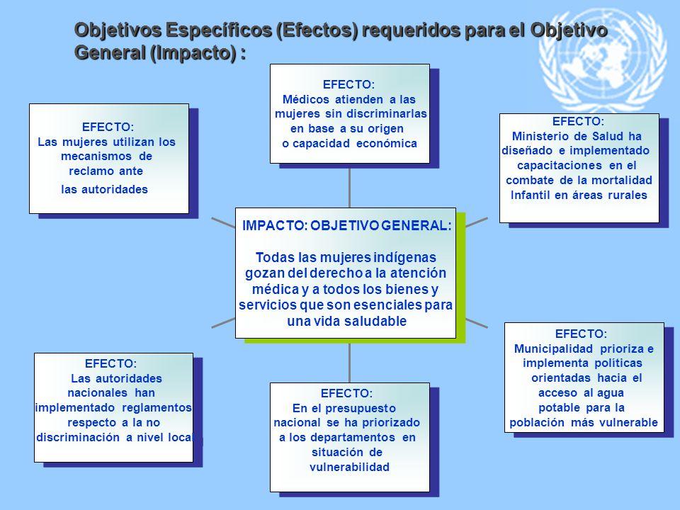 Objetivos Específicos (Efectos) requeridos para el Objetivo General (Impacto) :