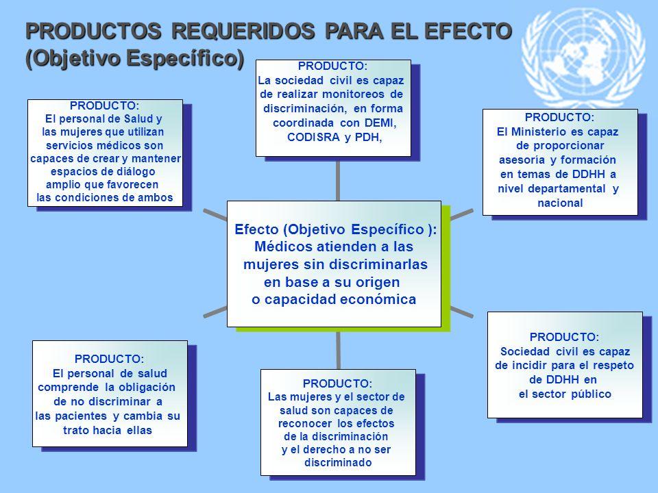 PRODUCTOS REQUERIDOS PARA EL EFECTO (Objetivo Específico)