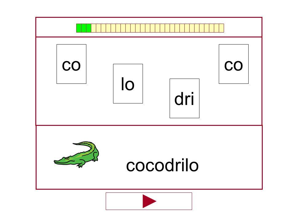 co co lo dri cocodrilo …