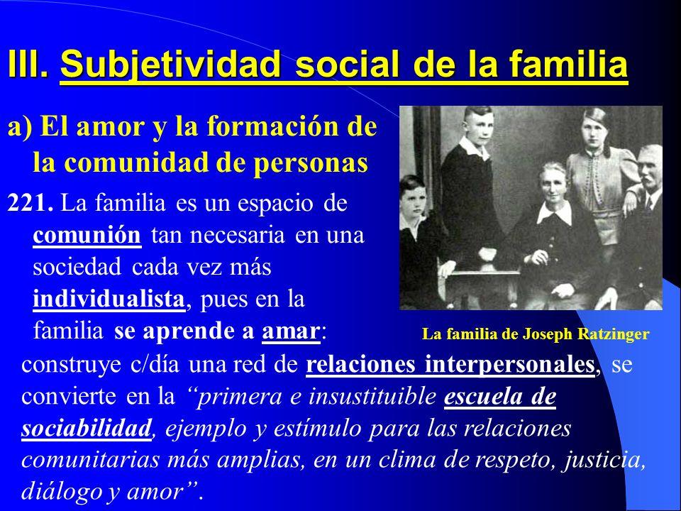 III. Subjetividad social de la familia