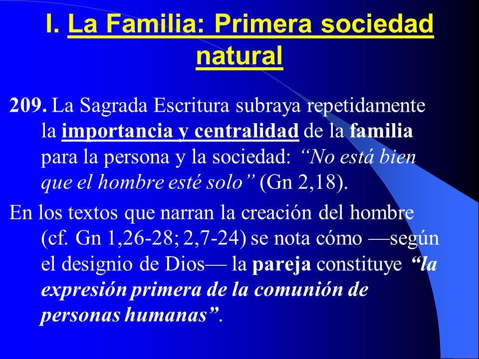 I. La Familia: Primera sociedad natural