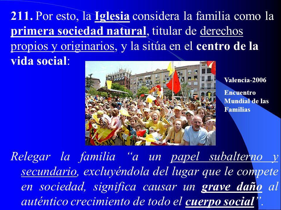 211. Por esto, la Iglesia considera la familia como la primera sociedad natural, titular de derechos propios y originarios, y la sitúa en el centro de la vida social: