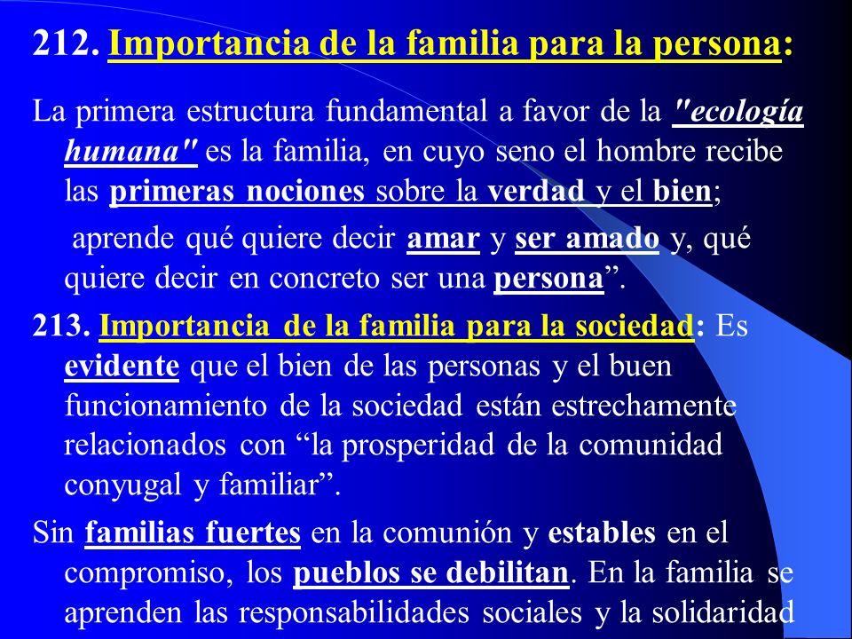 212. Importancia de la familia para la persona: