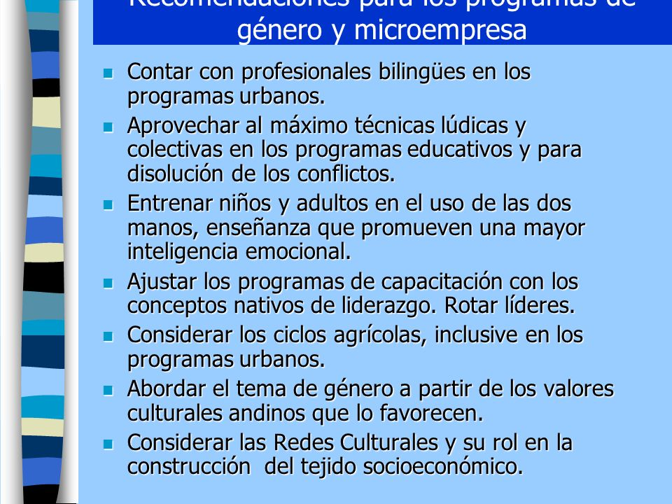 Recomendaciones para los programas de género y microempresa