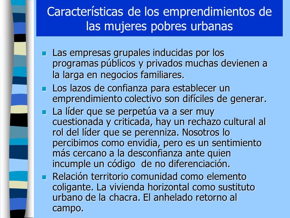 Características de los emprendimientos de las mujeres pobres urbanas