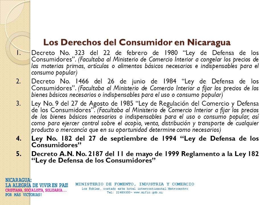 Mific direcci n de defensa del consumidor ddc ppt descargar for Ley del ministerio del interior