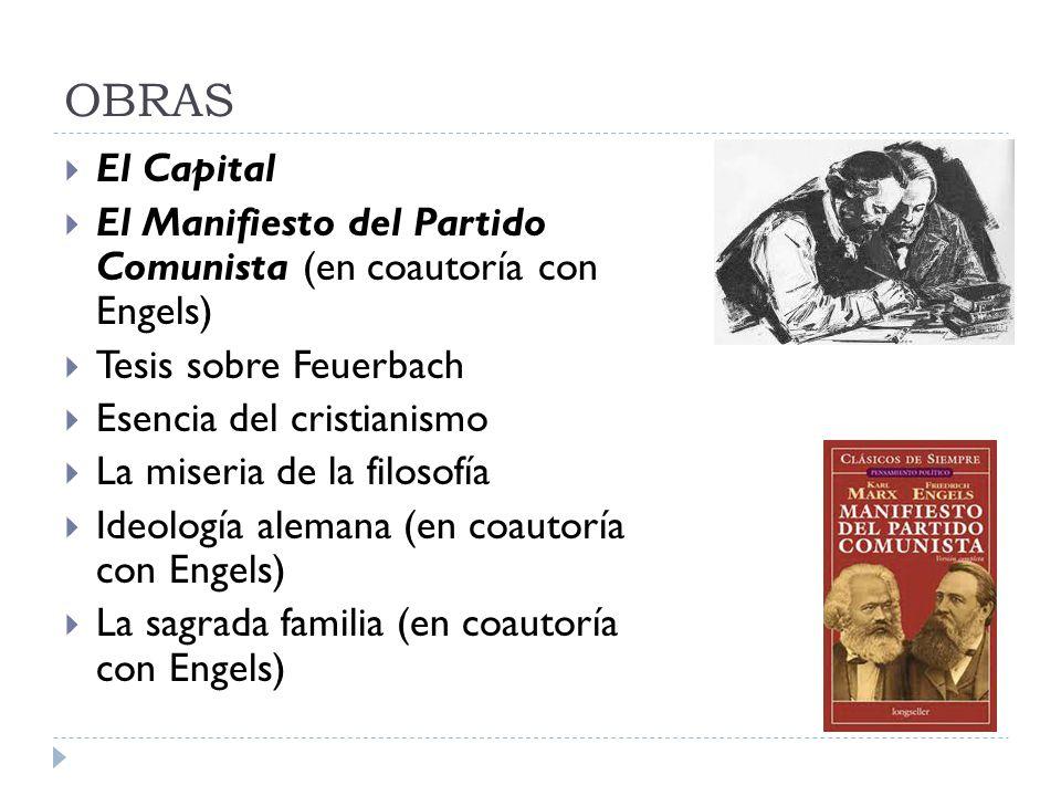 OBRAS El Capital. El Manifiesto del Partido Comunista (en coautoría con Engels) Tesis sobre Feuerbach.