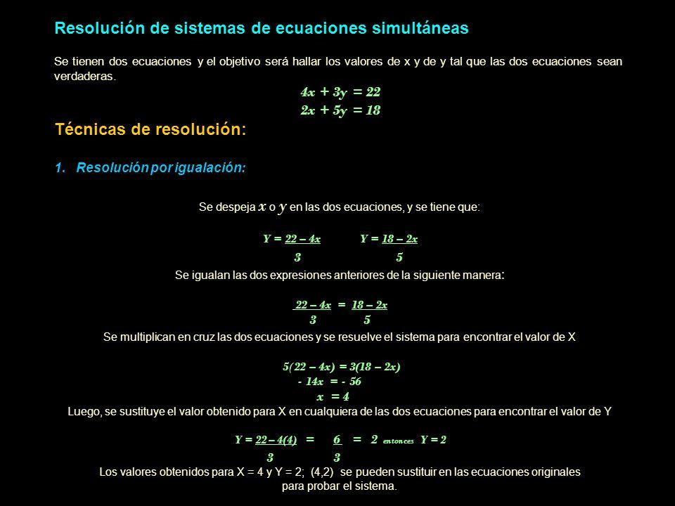 Resolución de sistemas de ecuaciones simultáneas