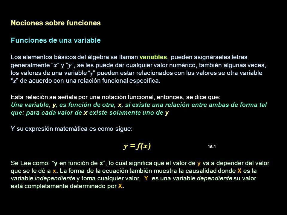 Nociones sobre funciones Funciones de una variable