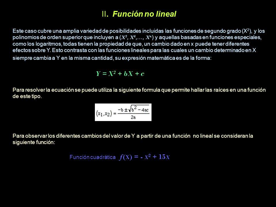 II. Función no lineal Y = X2 + bX + c