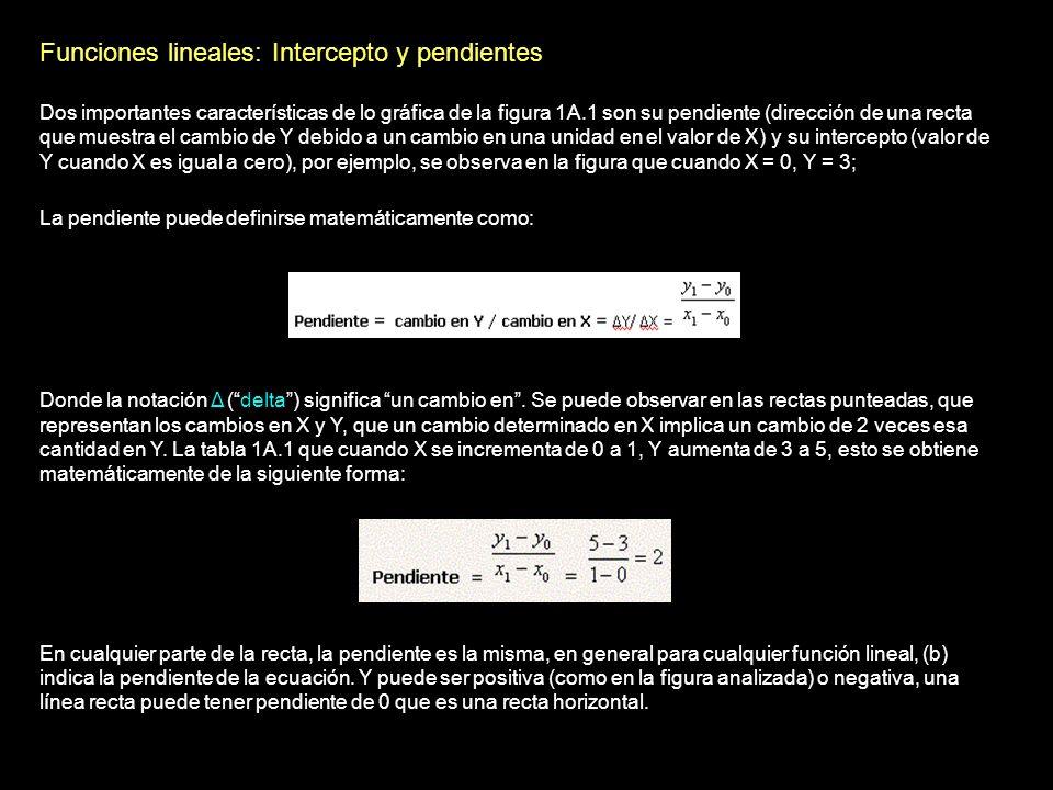 Funciones lineales: Intercepto y pendientes
