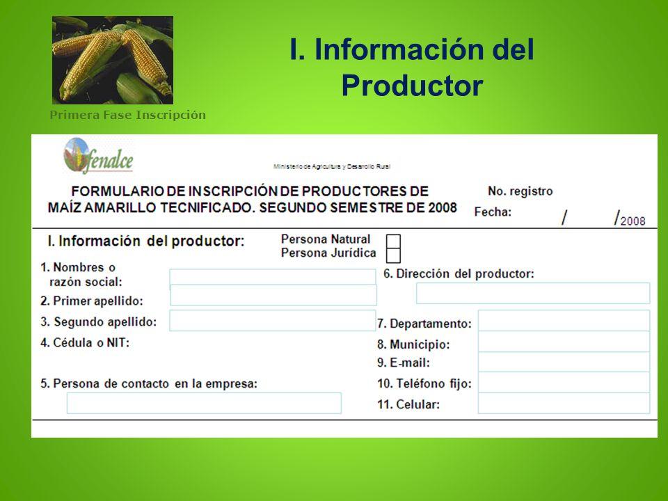 I. Información del Productor