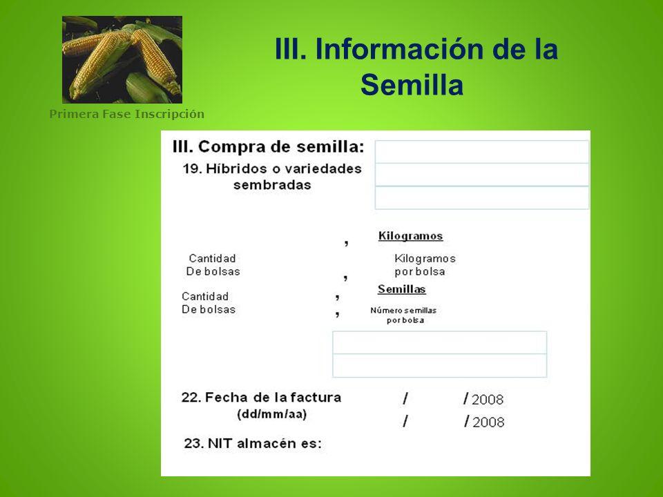 III. Información de la Semilla