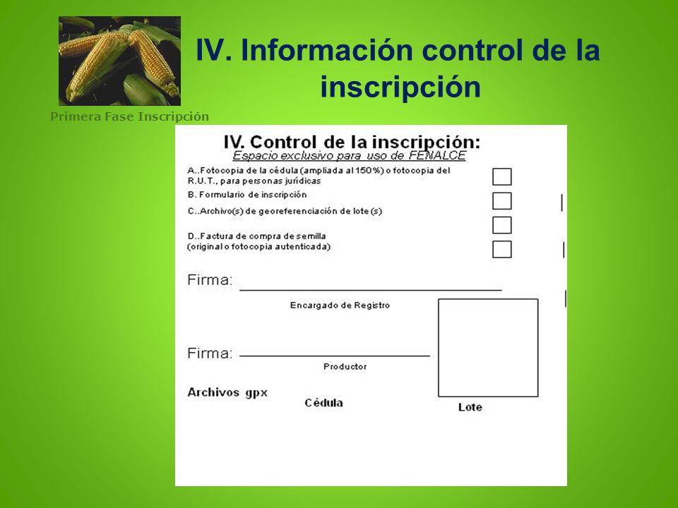 IV. IV. Información control de la inscripción
